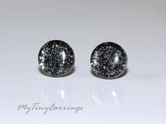 Black Sparkling Silver Tiny Round Glass Earrings by MyTinyEarrings