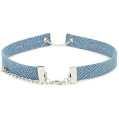 Forever21 Denim Chain-Link Choker (19 BRL) ❤ liked on Polyvore featuring jewelry, necklaces, chain link choker necklace, forever 21 jewelry, polish jewelry, chain necklace and chain link jewelry