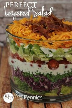 The Perfect Layered Salad Love it?  Pin it to your DINNER board to SAVE it! Follow Spend With Pennies on Pinterest for more great recipes! This is the Perfect Layered Salad!  Not only is is gorgeous, it tastes amazing!  This salad has a simple homemade buttermilk ranch dressing which tastes both light and fresh. Layered …