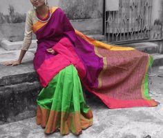 Purple with green Handloom soft silk cotton Saree with ghicha pallu