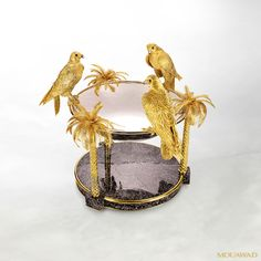Mouawad Jewelry - Three Falcons at a Bird Bath Objet DArt (18K gold, gold-plated silver & obsidian)