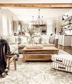 Looking for for images for farmhouse living room? Check this out for cool farmhouse living room ideas. This farmhouse living room ideas seems to be totally terrific. Cottage Living Rooms, Living Room Modern, Rugs In Living Room, Home And Living, Living Room Designs, Living Room Decor, Small Living, Salons Cottage, Farmhouse Style Kitchen