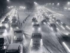 Snowy Night North ave.PedestrianBridge, Chicago,1956.