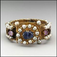 Byzantine Jeweled Bracelet. 6th-7th century. Gold, Silver, Pearls, Amethyst, Sapphire, Glass and Quartz. Source: Metropolitan Museum of Art