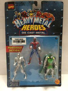 (TAS014090) - 1999 Marvel Comics Heavy Metal Heroes Die Cast Metal 3-pk