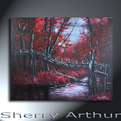 Red Forest Trees With Bridge And River Landscape by sherryarthur, $315.00
