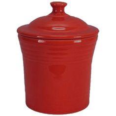 Fiesta Utility/Jam Jar in Scarlet Red from Fiestaware Dinnerware: Item 969326 Fiesta Kitchen, Mini Kitchen, Kitchen Storage Containers, Pretty Mugs, Fruit Preserves, Color Glaze, Jam Jar, Ball Jars, Kitchen Canisters