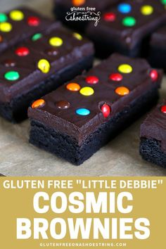 If you've ever craved gluten free Little Debbie sweet treats, you're in luck! Check out my copycat recipe for Cosmic Brownies that are as chewy and fudgy as the real thing! These are great desserts for kids birthday, school parties, or on the go snac