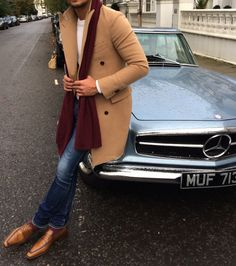 LOUIS-NICOLAS DARBON - Today I'm Wearing Camel coat from Suitsupply Cashmere burgundy scarf from Cos Cream jumper from H&M Jeans Petit Standard from A.P.C Andy loafers from Berluti www.louisnicolasdarbon.com