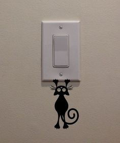"Cat/Kitten Hanging From Light Switch (2.5""x4.5"") - Bedroom/Home Decor Decal"