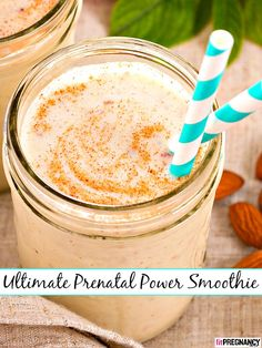 "This is seriously the ultimate pregnancy/prenatal power smoothie! This recipe for a healthy breakfast preggo smoothie comes from an Ayurvedic practitioner and yoga therapist in NYC—and teacher to Kourtney Kardashian. ""Almonds are nourishing for mama and b Superfood Recipes, Protein Shake Recipes, Smoothie Recipes, Protein Shakes, Pregnant Diet, Getting Pregnant, Nog Recipe, Pregnancy Smoothies, Pregnancy Nutrition"