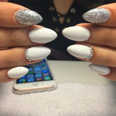 Matte white and silver nails #cocainewhite #whitenails#nailart #nailswag…
