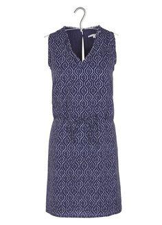 Robe courte droite ceinturée en coton imprimé Bleu by SUD EXPRESS