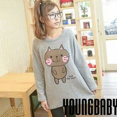 'YoungBaby – Cat-Print Raglan Long Pullover'