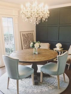 Cottage Farmhouse Dining Room Design, Table, Chairs, Rug #ad