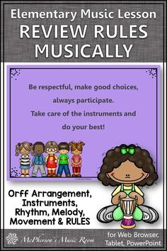 FUN elementary music back to school music lesson! Review the music rules with rhythm, melody, instruments, movement. Plus, it has an Orff arrangement. Engaging music lesson plan to start the year addressing your music curriculum immediately. Music Classroom, Music Teachers, Orff Arrangements, Hello Music, Music Education Activities, Elementary Music Lessons, Music Lesson Plans, Teaching Music, Curriculum