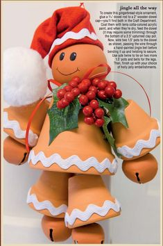 Jingle all the way with this gingerbread man ornament made from clay pots. Clay Pots Christmas, Clay Pot Gingerbread Man, Christmas Crafts, Terra Cotta, Gingerbreadman, Gift Crafts, Cotta Can, Christmas Ideas, Christmas Clays Pots