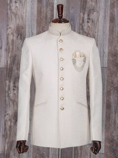 Shop Solid wedding wear cream jodhpuri suit online from India. Buy Suits, Dress Suits For Men, Men Dress, Latest Mens Suit Designs, Latest Suit Design, Wedding Kurta For Men, Wedding Wear, African Clothing For Men, Mens Clothing Styles