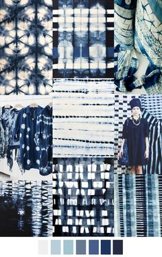 Shibori indigo and patterns for fall Textiles, Color Patterns, Print Patterns, Mode Collage, Trends 2016, Mood Indigo, Indigo Dye, Shibori Tie Dye, Fashion Colours
