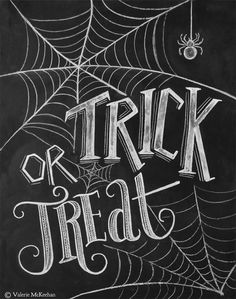 "SHIPPING IS INCLUDED! This Trick or Treat chalkboard print is the perfect addition to your ""Halloween chic"" decor or Halloween party. The design features cobweb illustrations and a chalk spide (Halloween Quotes) Halloween Tafel, Theme Halloween, Halloween Signs, Holidays Halloween, Halloween Treats, Deco Haloween, Happy Halloween Quotes, Chic Halloween, Halloween Clothes"