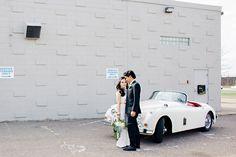 1958 Jaguar XK150   Emerald 1970s Wedding Inspiration   Ruffled