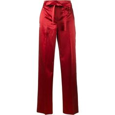 Helmut Lang Helmut Lang Satin Wide-Leg Trousers found on Polyvore featuring pants, bottoms, trousers, creased pants, helmut lang, long trousers, red trousers and satin pants