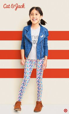 Say hello to Cat & Jack, kids' clothing with an imagination of its own. Only at Target. Love, love, love the layering going on here with this super cute Cat & Jack look. Stylish and sweet with a bit of edge, this Knit Denim Moto Jacket is a great layering piece. Pick a graphic tee that speaks to their personal style and some leggings featuring a fun print. The outfit possibilities are endless with these three key pieces. Shop the collection in stores and online.
