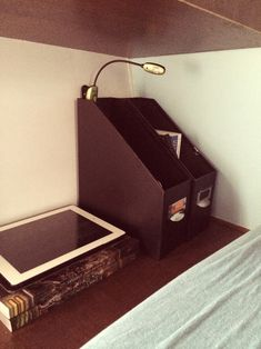 This is a great idea for keeping the nightstands by the bed organized! http://myrvliving.tumblr.com/