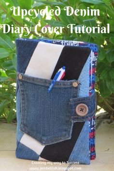 Creating my way to Success: Upcycled Denim Diary Cover Tutorial