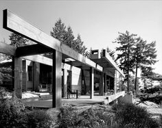 Smith House 2 West Vancouver, B. Canada Designed with Geoffrey Massey Photo by John Fulker For thumbnails and project information click in photo. House 2, House Front, Online Archive, House In The Woods, Exterior, Architects, House Styles, Contemporary Houses, Eames