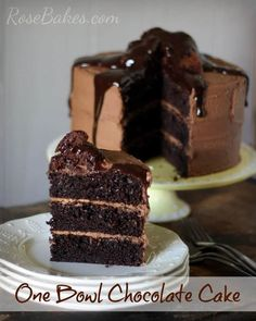 This is the easiest, best chocolate cake! One Bowl Chocolate Cake with Brownie Batter Frosting and Ganache Chocolate Cake From Scratch, Amazing Chocolate Cake Recipe, Tasty Chocolate Cake, Dark Chocolate Cakes, Cake Recipes From Scratch, Best Chocolate, Homemade Chocolate, German Chocolate, Chocolate Frosting
