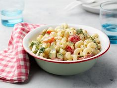Summer Pasta Salad Recipe from Food Network. can lighten up with yogurt instead of mayo/sour cream