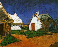 Three White Cottages in Saintes-Maries, 1888, Vincent van Gogh  Size: 33.5x41.5 cm  Medium: oil on canvas