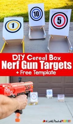 DIY Cereal Box Nerf Gun Targets and Free Template – - Kinderspiele Outdoor Activities For Kids, Summer Activities For Kids, Party Activities, Outdoor Games, Physical Activities, Family Activities, Nerf Birthday Party, Nerf Party, 8th Birthday