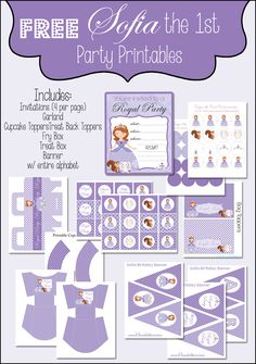 SOFIA THE FIRST FREE PRINTABLE PARTY SET