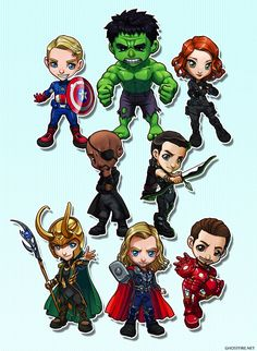 Avengers Chibi Group by ghostfire