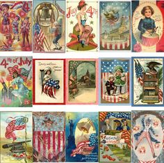 200 Vintage Fouth of July Postcards on CD by CaityAshBadashery, $8.95