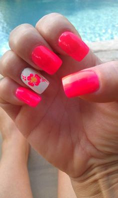 Summer nails! Love the habiscus. :)