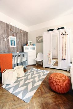 Trendy baby nursery ideas for boy modern apartment therapy 42 ideas Fox Nursery, Baby Nursery Neutral, Nursery Design, Nursery Room, Kids Bedroom, Fox Themed Nursery, Orange Nursery, Nursery Modern, Nautical Nursery