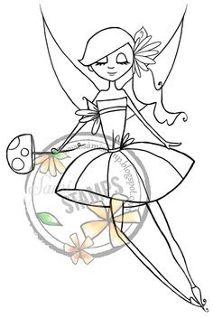 "Items similar to Digital Stamp ""Little Flower Fairy"" on Etsy Digital Stamps, Scrapbooks, Bookmarks, Fairies, Mushroom, Magic, Etsy Shop, Make It Yourself, Website"