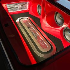 72 chevelle red and black #BecauseSS car audio custom trunk install subs amps