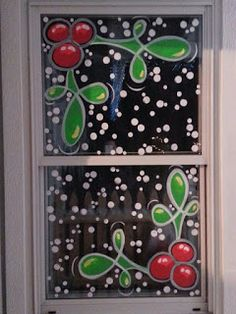 By Jannal: holly & snow holiday window painting :-) Merry Little Christmas, Christmas Art, Christmas Projects, Christmas Holidays, Christmas Window Decorations, Holiday Decor, Christmas Window Paint, Painted Window Art, Christmas Stencils