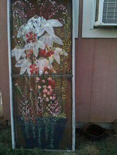 """ flower garden"" painted window screen Old Window Projects, Diy Projects Cans, Art Projects, Painted Window Screens, Painted Doors, Painting On Glass Windows, Tole Painting Patterns, Door Murals, Stained Glass Art"