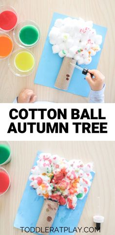 This Cotton Ball Autumn Tree craft is a fun one for sure. Kids love using droppers and for this craft their coloring in the cotton ball tree using droppers! Toddler at Play - Cotton Ball Autumn Tree Fall Preschool, Kindergarten Crafts, Daycare Crafts, Preschool Crafts, Fun Crafts, Kindergarten Graduation, Kindergarten Writing, Colorful Crafts, Science Crafts