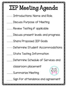 Stay on track during your special education meets with this user friendly meeting agenda!