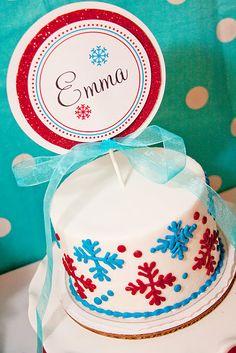 Snowflake birthday cake cute smash cake