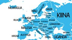 Mikäli väkimäärältään suurin kansa saisi pinta-alaltaan suurimman maan, muuttaisivat kiinalaiset Venäjälle. Yhdysvaltalaiset ja brasilialaiset pysyisivät nykyisillä sijoillaan. Uganda, Geography, Israel, Religion, Arabic Calligraphy, Australia, Map, Teaching, Life