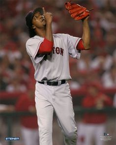 Pedro Martinez Boston Red Sox Pointing to Sky 8x10 Photo This is an 8x10 photo of Baseball Hall of Famer Pedro Martinez. It would make a great addition to any fans collection. **Photo Only Sold With F