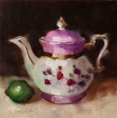 Small Original Oil Painting Teapot Lime by CynthiaHaaseFineArt, $75.00