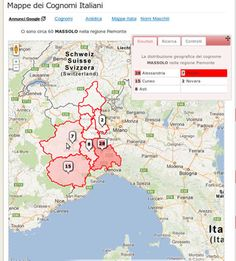 Italian Surnames Locator - Cognomix - il portale dei cognomi italiani offers a map of Italian surnames. This map contains stats on the distribution of the surname according to regions, provinces or Italian communes.